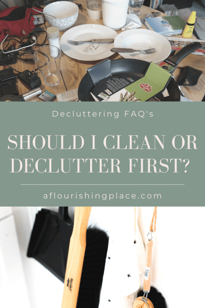 2 Pictures of Clutter and Cleaning Supplies
