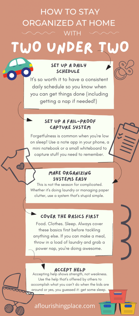 An infographic summarizing how to be organized at home with two under two
