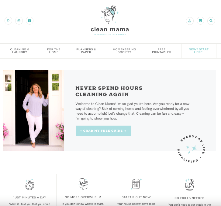 A webpage for CleanMama.com showing a blonde woman smiling with words of description about the clean mama system