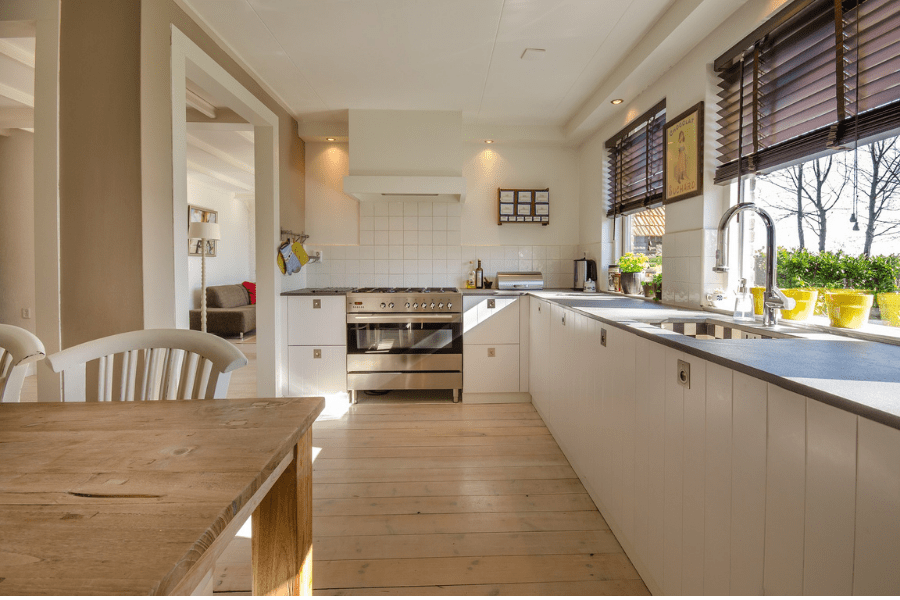 kitchen table, kitchen counter and windows