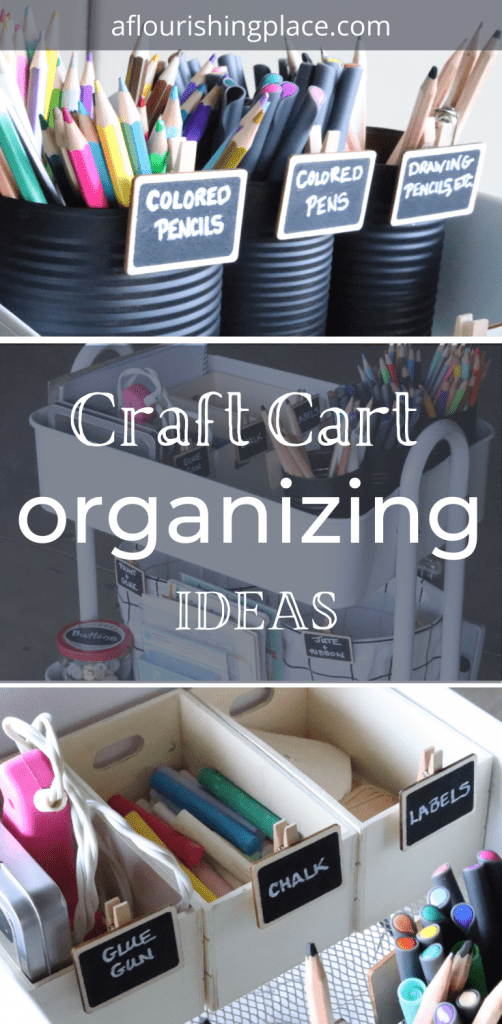 top photos shows colored pencils, pens and drawing pencils in black tin cans, middle photo shows an organized white rolling craft cart, and bottom picture shows 3 wood containers holding a pink glue gun, colored chalk and various labels