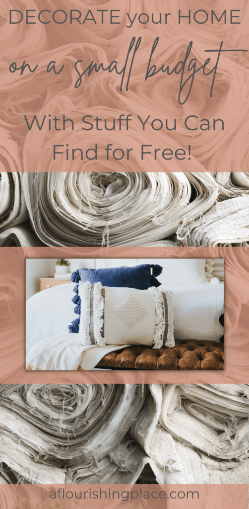 Rolls of cream and white fabric stacked on top of each other, and another photo over the top of three throw pillows, one blue and two white