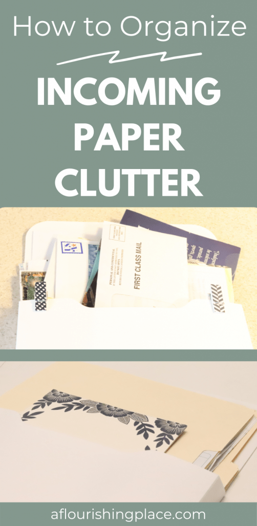photo on top of disorganized mail in a white organizing pocket, photo on the bottom of manila folders and a floral notepad in a white organizing pocket