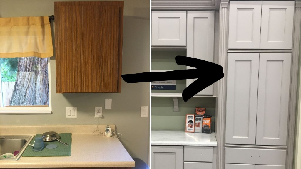 two photos side by side. On the left, a flat front wood cabinet against a grey wall with a mustard yellow curtain valance over a window on the left. Right photo is a bank of grey shaker front cabinets.