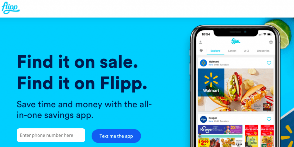 Screen shot of the bright blue home screen of the flipp app with the home screen of a smart phone displaying the app on it
