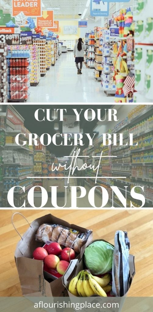 Three photos: top photo of a woman walking down the main aisle of a walmart. second photo of the aisle of a grocery store filled with products, and the third (bottom) photo of two paper grocery sacks with apples, lettuce, bananas, etc. against a wood floor background