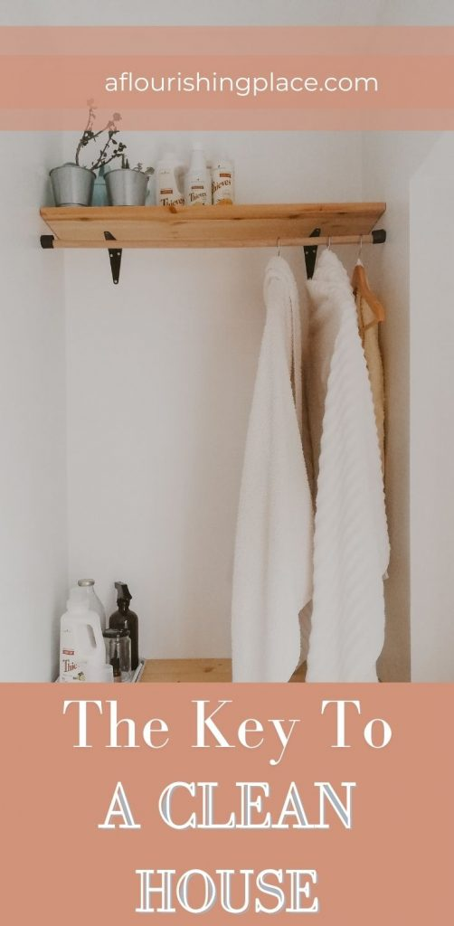 A wood shelf with a couple house plants on top, and two white shirts hanging below on a rod, with a couple laundry bottles sitting on a wood table below.